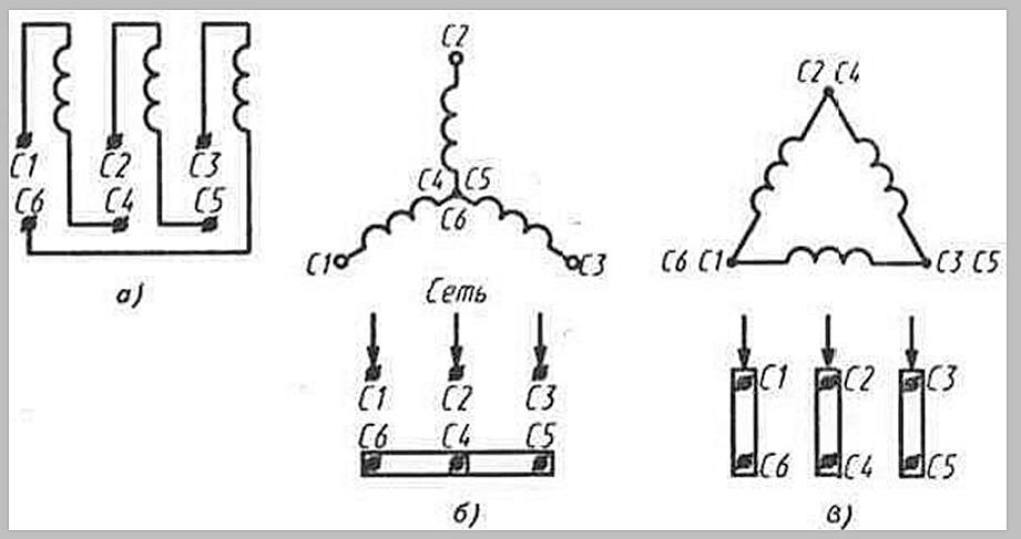 б) схема включения обмоток