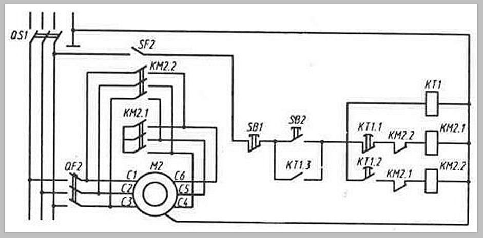 Схема пуска короткозамкнутого электродвигателя